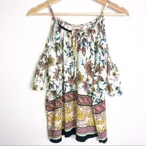 Ambiance Boho Floral Cold Shouler Top XS